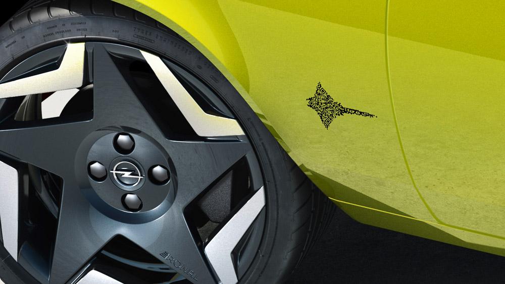 opel ersetzt manta logo emblem durch qr-code beim elektromod